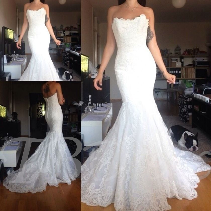 Sweetheart Lace Button Mermaid Wedding Dress