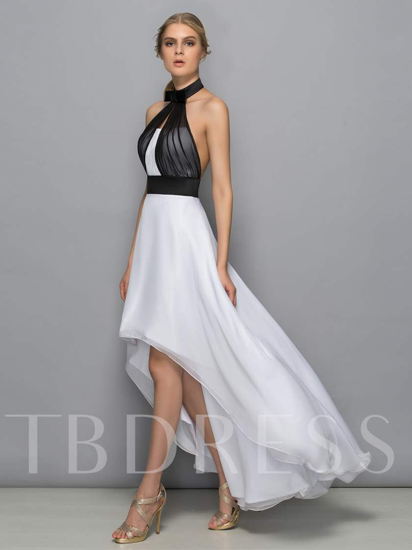 A-Line Halter Bowknot Asymmetry Cocktail Dress
