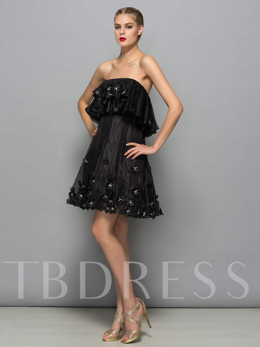 A-Line Strapless Beading Sequins Mini Cocktail Dress