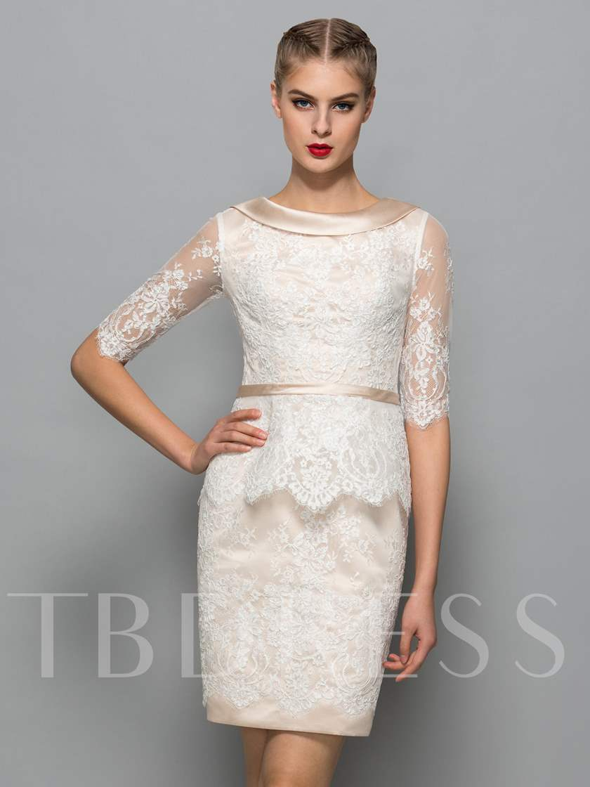 Half Sleeves Scoop Sheath Lace Sashes Cocktail Dress
