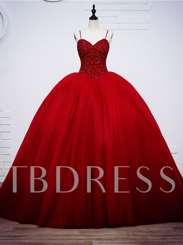 Beaded Bodice Red Ball Gown Wedding Dress