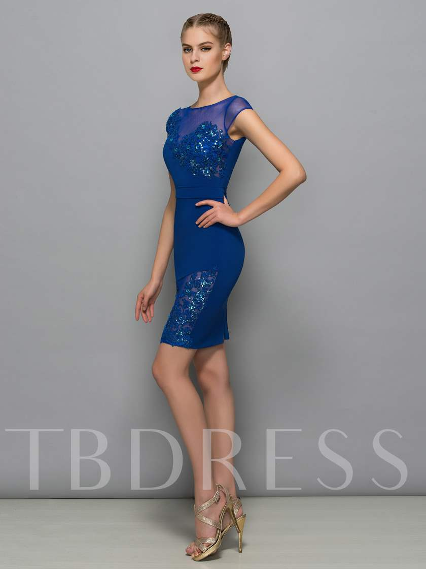 Cap Sleeves Bateau Sheath Appliques Sequins Cocktail Dress