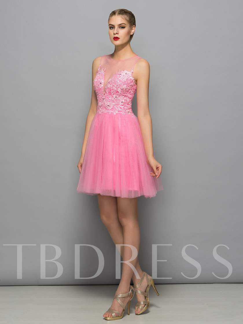 Illusion Neck Appliques Beading Homecoming Dress