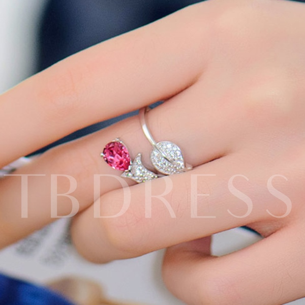 Fashion Crystal with Leaf Tail Opened Women's Ring