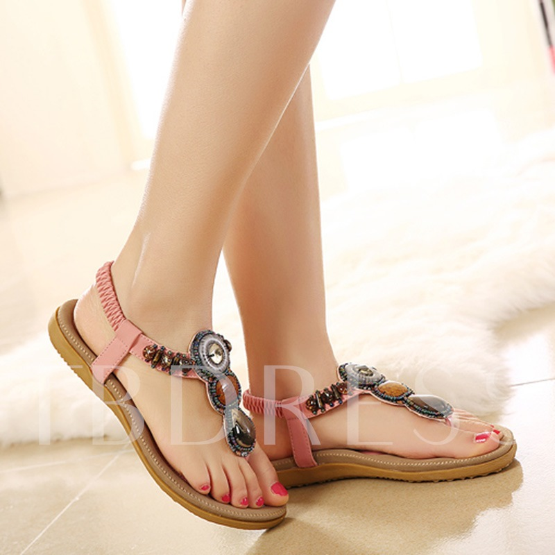Bead Elastic Band Slingback Strap Low Heel Women's Sandals