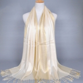 Gold Thread Long Tassel Scarf