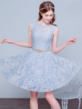 A-Line Round Lace Ribbons Short Prom Dress