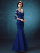 Mermaid V-Neck Lace Button Evening Dress