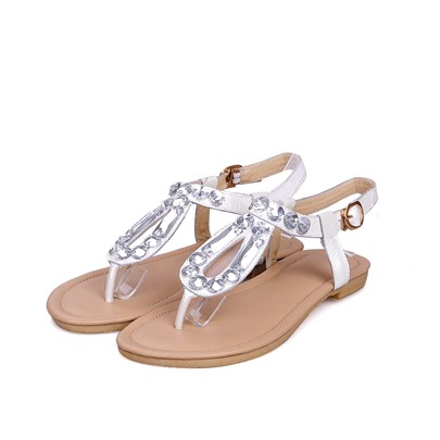 Thong Square Heel Strappy Rhinestone T-Shaped Buckle Women's Sandals