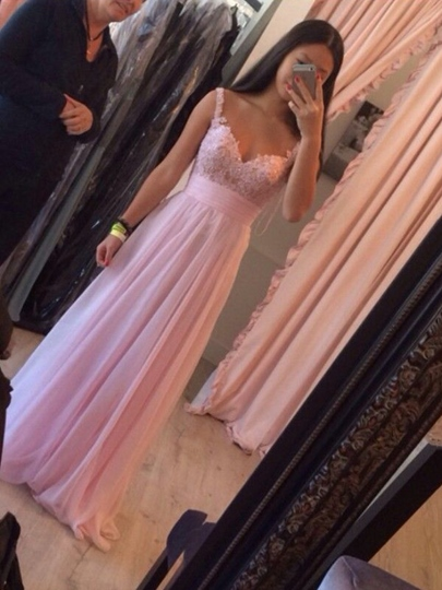 A-Line Ruched Straps Appliques Beaded Floor-Length Prom Dress