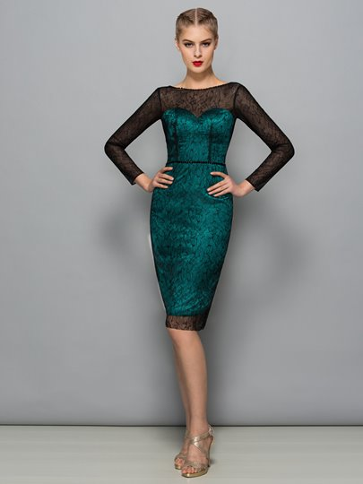 Sheath Scoop Beading Lace Sequins Cocktail Dress