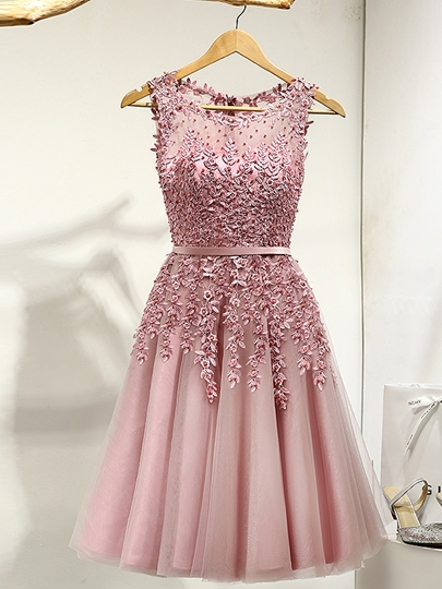 A-Line Round Appliques Pearls Ribbons Mini Prom Dress