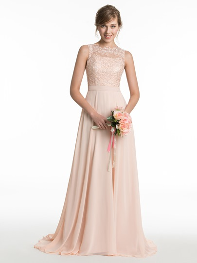 Jewel Neck Lace A-Line Bridesmaid Dress