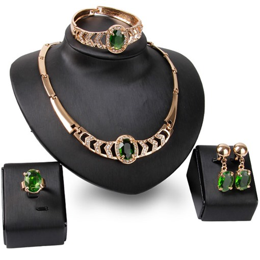 Green Gems Alloy Four-Piece Jewelry Set