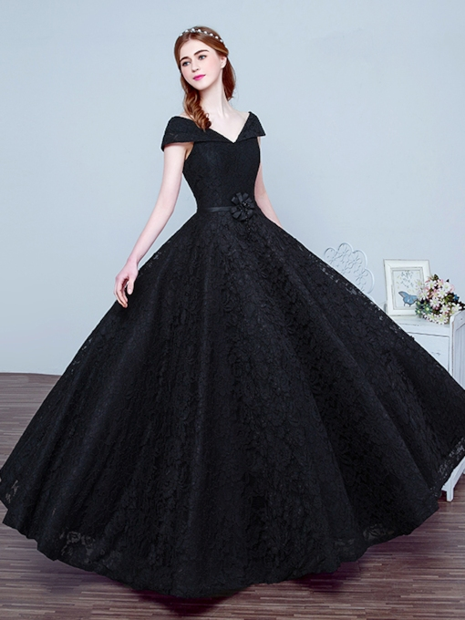 Lace-Up A-Line V-Neck Lace Floor-Length Evening Dress