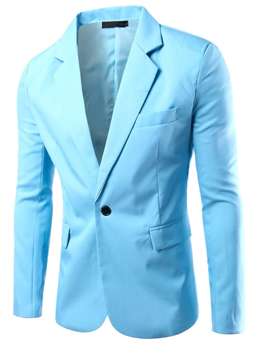 Notched Collar One Button Solid Color Slim Fit Men's Blazer