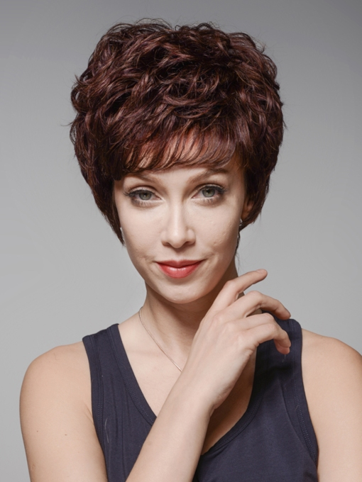 Top Quality Short Wavy Capless Human Hair Wig 6 Inches