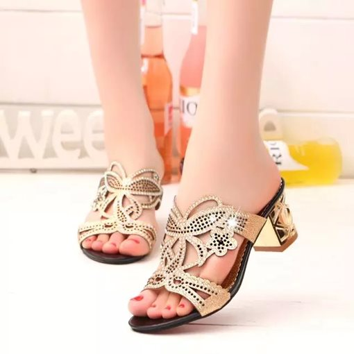 Chunky High Heel Slip-On Rhinestone Plain Open Toe Women's Sandals