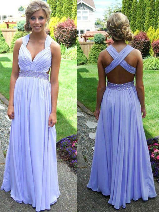 A-Line Straps Beading Pleats Floor-Length Prom Dress