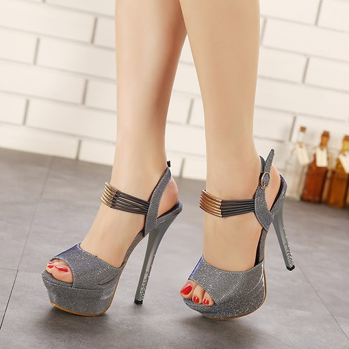 Peep Toe Platform Ankle Strap Stiletto Heel Women's Sandals