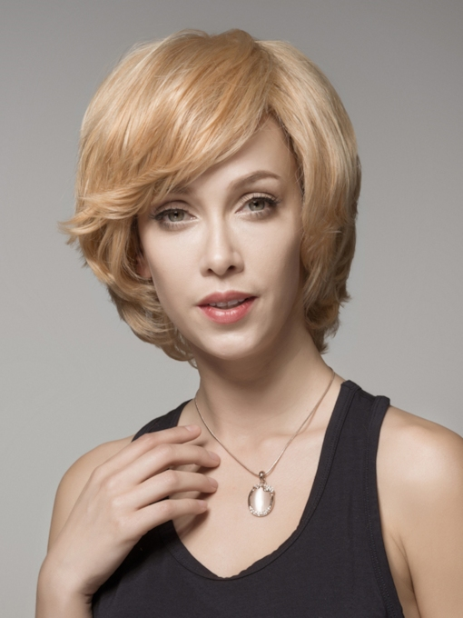 Beautiful Layered Short Wavy Capless Human Hair Wig 8 Inches