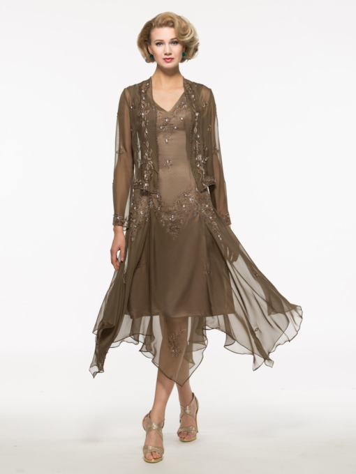 Embroidery Asymmetry Mother of the Bride Dress with Jacket