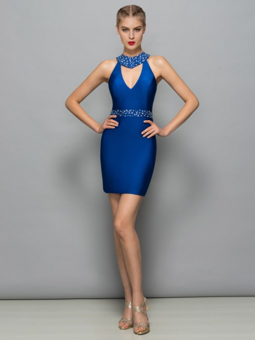 Sheath V-Neck Beaded Hollow Short Cocktail Dress