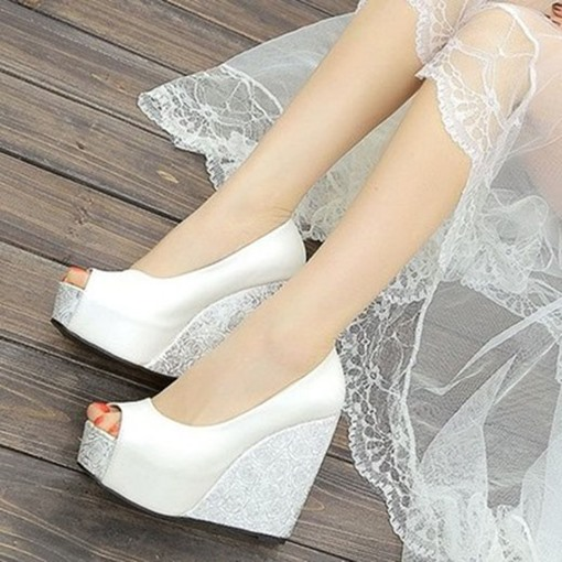 Peep Toe Wedge Heel Slip-On Wedding Shoes