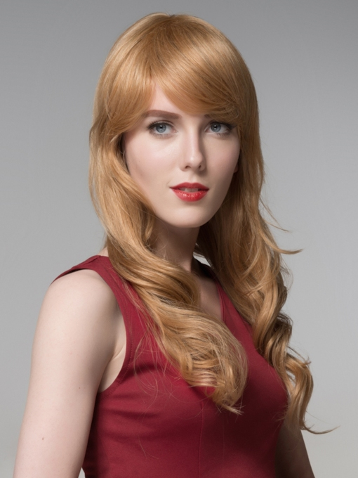 Elegant Long Wavy Capless Human Hair Woman Wig 24 Inches