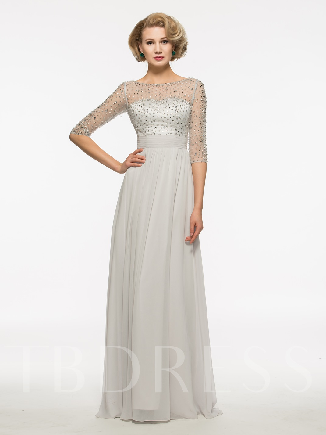 Half Sleeves Beading Scoop Neck Floor-Length Mother Of The Bride Dress