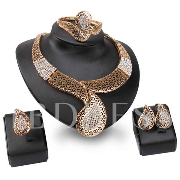Water Droplets Shape Hollow Out Gold Four-Piece Jewelry Set