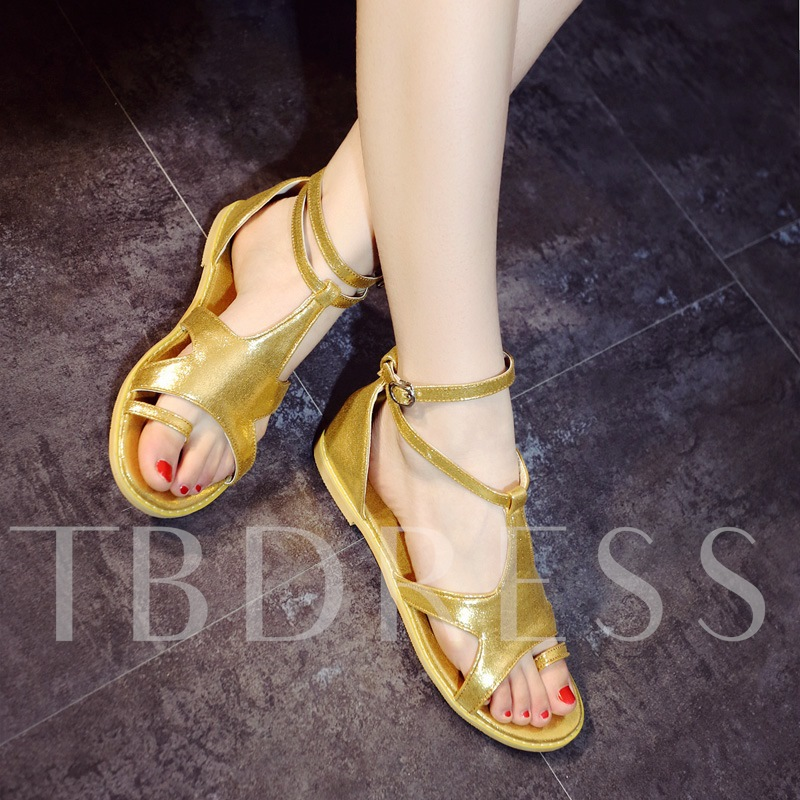 Toe Ring Square Heel T-Shaped Buckle Women's Sandals
