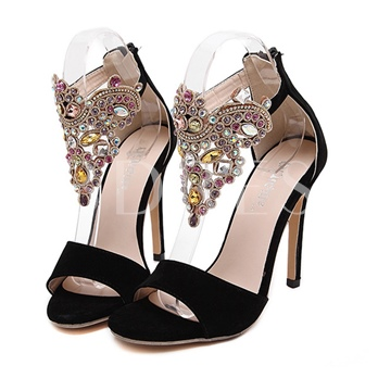 Peep Toe Zipper Plain Rhinestone Sequins Women's Sandals