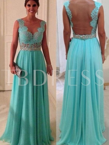 A-Line Scoop Beading Sweep Train Prom Dress