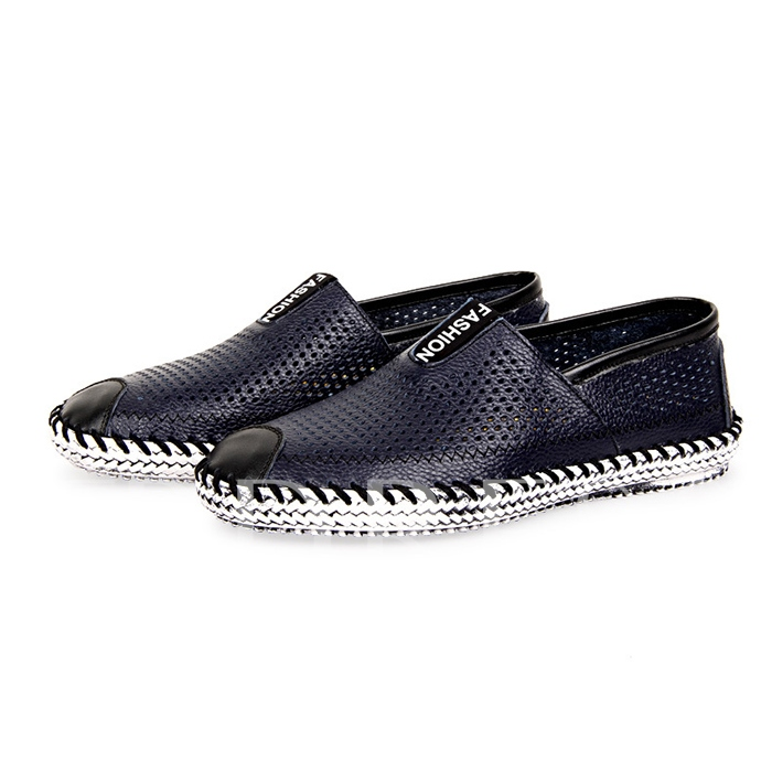 Round Toe Hollow Patchwork Flat Heel Men's Loafers