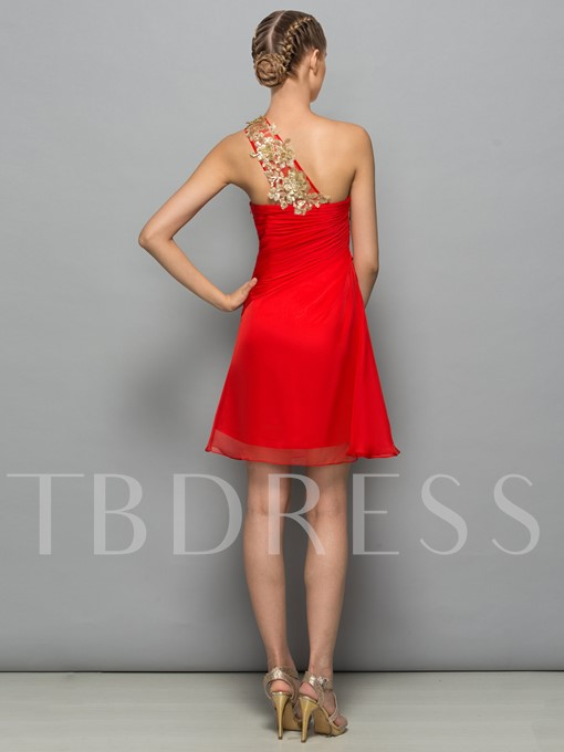 One-Shoulder A-Line Appliques Pleats Sequins Short Cocktail Dress