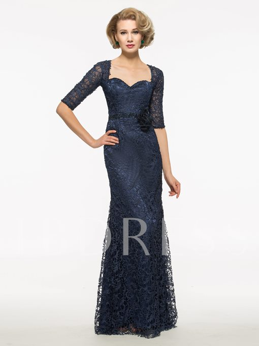 Half Sleeves Lace Sweetheart Sheath Mother Of The Bride Dress