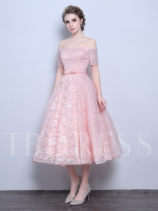 Off-the-Shoulder Lace-Up A-Line Bowknot Lace Tea-Length Prom Dress