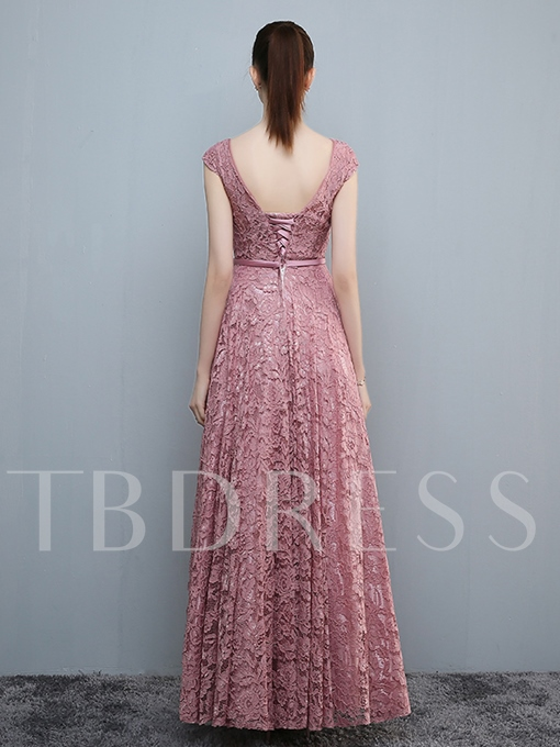 A-Line Round Neck Cap Sleeves Bowknot Lace Sashes Evening Dress