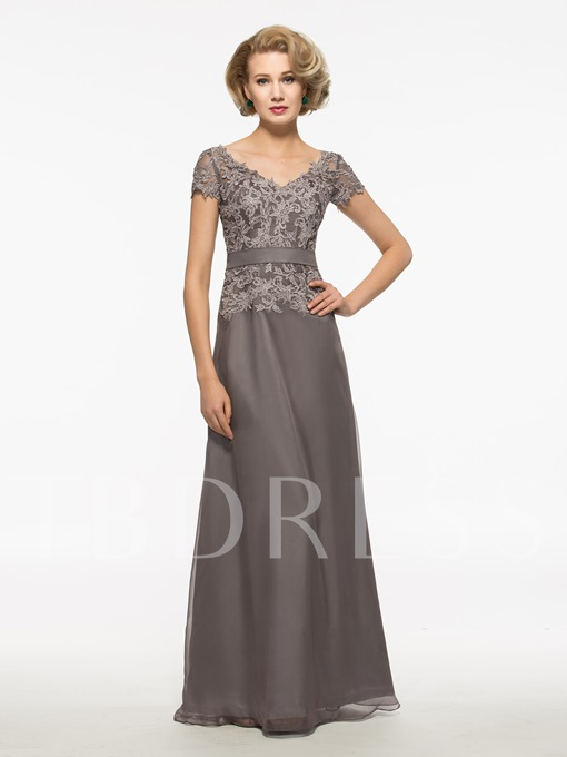 Appliques Short Sleeve Mother of the Bride Dress