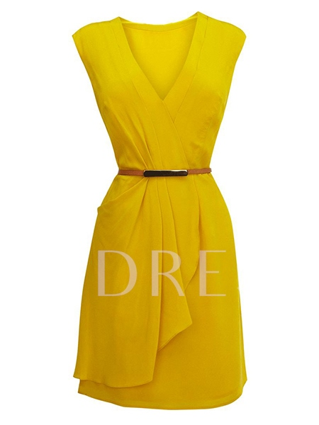 Solid Color V Neck Tiered Women's Day Dress