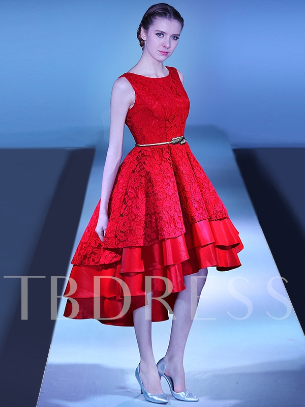 A-Line Scoop Lace Sashes Asymmetry Prom Dress