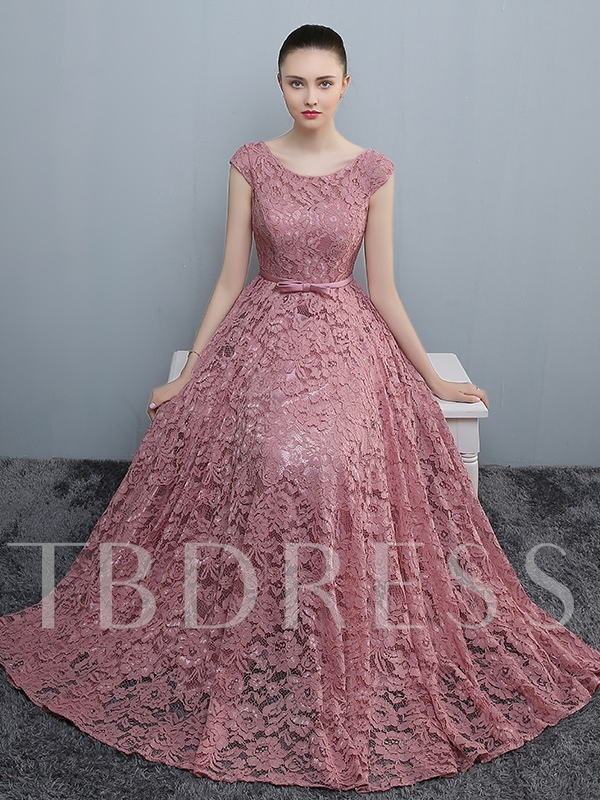 Scoop Neck Cap Sleeves Bowknot Lace Prom Dress