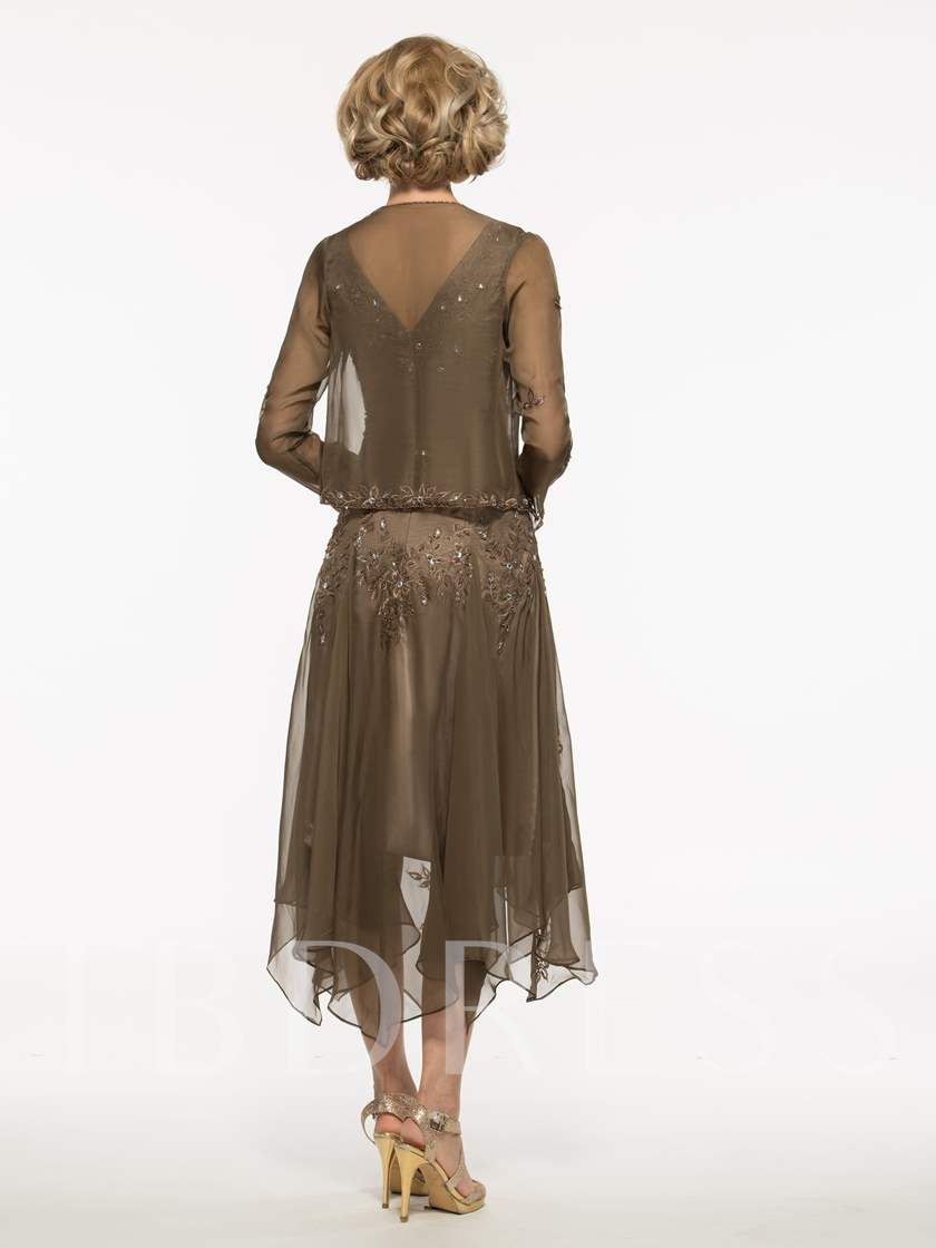 Embroidery Beaded Asymmetrical Mother Dress With Jacket