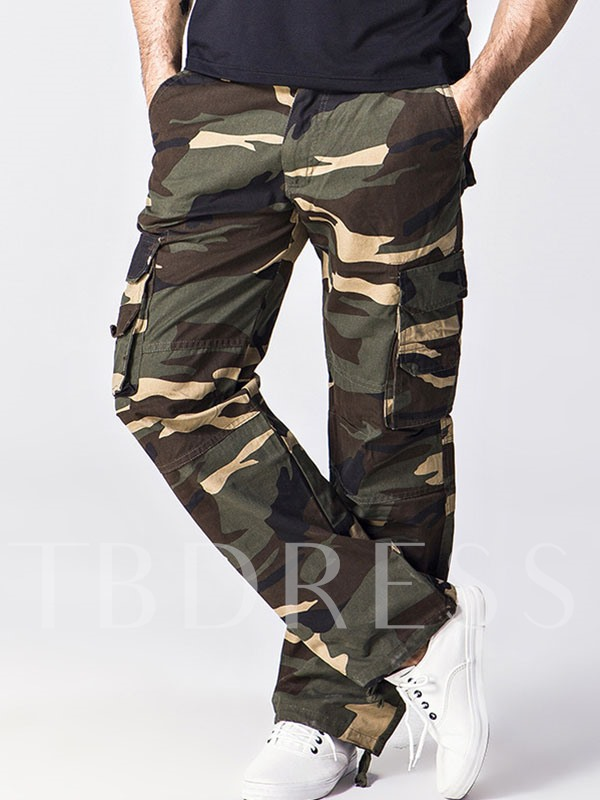 Men's Cargo Trousers with Camouflage Printed