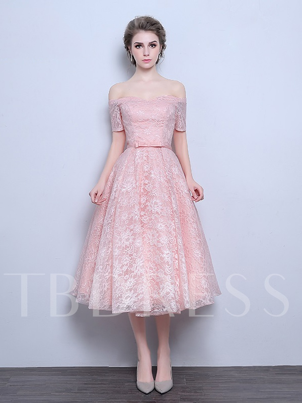 Off-the-Shoulder A-Line Bowknot Lace Tea-Length Prom Dress