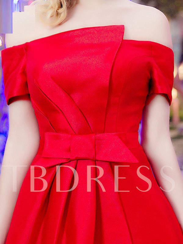 Short Sleeves Bowknot Split-Front Red Prom Dress