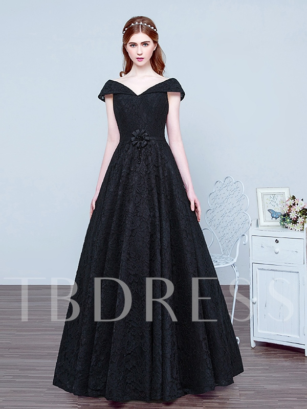 Cap Sleeves Lace-Up Black Lace Evening Dress