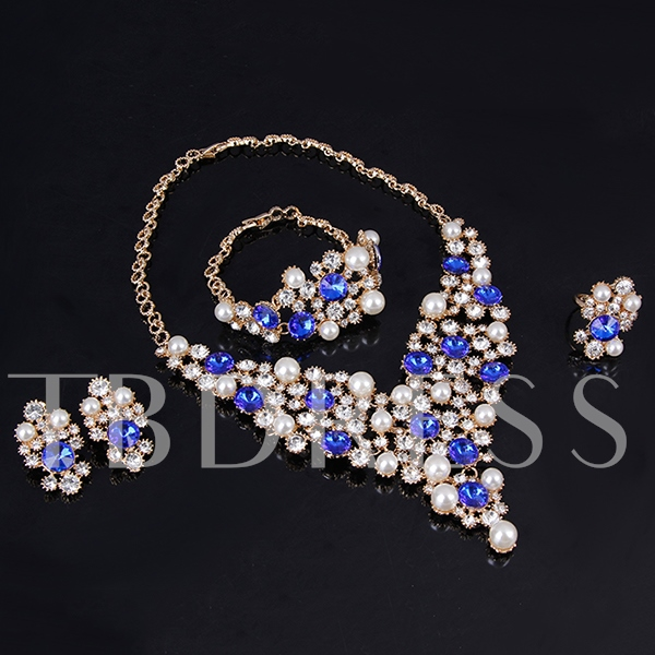 Blue Rhinestone Pearls Four-Piece Jewelry Set
