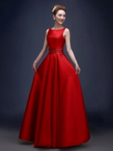 Straps Beaded Pockets Red Evening Dress